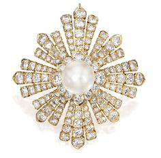 18 KARAT GOLD, CULTURED PEARL AND DIAMOND BROOCH, VAN CLEEF & ARPELS, NEW YORK, CIRCA 1967.  Designed as a sunburst centered by a button-shaped cultured pearl measuring approximately 14.9 by 10.5 mm, the rays set with numerous round diamonds weighing approximately 23.50 carats, signed Van Cleef & Arpels, numbered N.Y. 38035, with French workshop and assay marks; fitted with a pendant hook and retractable pendant loop. With signed pouch.