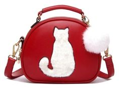 Fur Ball Cat Purse - Love Cat Design Trendy Handbags, Purses And Handbags, Leather Handbags, Cat Purse, Cat Bag, Satchel, Crossbody Bag, Glamour, Cross Body Handbags