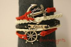 www.ilovecheesygrits.com  ACCEPTANCE~ Handmade Handcrafted Red and White Leather Silver Charm Multilayer Nautical Anchor Ship Wheel Wrap Bracelet ilovecheesygrits