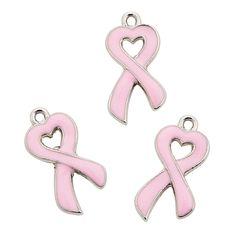 Enamel Pink Ribbon Charm - 20mm - OrientalTrading.com