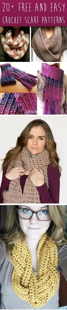 These 20+ Free and Easy Crochet Scarf Patterns   Items to try this winter for others to wear  and keep warm with.  :-)