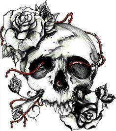 Skull drawings easy easy drawings of skulls easy skull drawings for Skull Rose Tattoos, Body Art Tattoos, Sleeve Tattoos, Tattoo Sketches, Tattoo Drawings, Easy Drawings, Skull Drawings, Tattoo Hals, 1 Tattoo