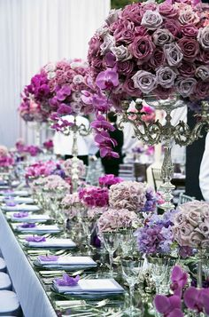 Incredible wedding bouquets and wedding centerpieces with purple wedding flowers! Spring Wedding Flowers, Purple Wedding, Wedding Colors, Dream Wedding, Spring Weddings, Wedding House, Floral Wedding, Summer Wedding, Long Table Wedding