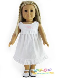 """Doll Clothes fits 18"""" American Girl Handmade Cute White Nightgown"""