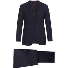 Lanvin Attitude-fit wool suit (379.240 HUF) via Polyvore featuring men's fashion, men's clothing, men's suits, mens slim fit suits, lanvin mens suit, mens tailored suits, mens slim suits and mens wool suits