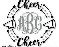 Cheer Coach Megaphone Monogram Wreath Arrows by faraboverubies
