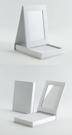 Cosmetics packaging with stand-up mirror