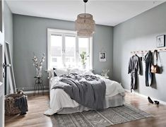 36 Stunning Modern Scandinavian Bedroom Design And Decor Ideas - Popy Home Scandinavian Bedroom Decor, Scandinavian Apartment, Home Decor Bedroom, Bedroom Ideas, Bedroom Inspiration, Scandinavian Design, Bedroom Furniture, Bedroom Designs, Cheap Furniture