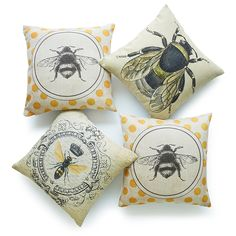 Love these bee cushions! sponsored link #bees #cushions #homedecor #bumblebee #bee