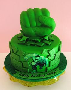 Hulk cake...like that it looks like he is busting out of the cake