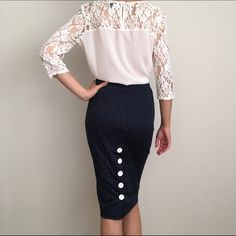 Host pick Bebe Polka Dots Midi Skirts Bebe polka dots midi skirt. Size 2.  97% cotton 3% spandex. Navy blue.Made in the USA bebe Skirts Midi