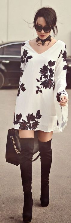 Spring street fashion chic /karen cox. White And Black Floral Little Dress Over the Knee High Boots