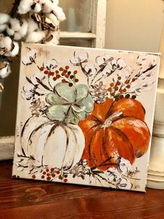 A new fall print on canvas available in my Etsy shop today! This one pictured is a Fall Canvas Painting, Autumn Painting, Autumn Art, Tole Painting, Diy Painting, Pumpkin Painting, Fall Paintings, Canvas Canvas, Pumpkin Canvas
