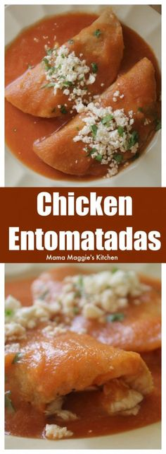 Entomatadas de Pollo (Chicken Entomatadas) is a tasty and easy Mexican recipe. It's made with fried tortillas stuffed with chicken and drenched in a savory tomato sauce. by Mama Maggie's Kitchen via - Comida Faciles Mexican Chicken Recipes, Mexican Cooking, Easy Chicken Recipes, Easy Mexican Recipes, Mexican Tomato Sauce Recipe, Mexican Recipes With Chicken, Mexican Meals, Chicken Meals, Pollo Chicken