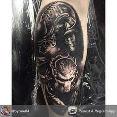 Alien vs predator tattoo by Predator Tattoo, Alien Vs Predator, Xenomorph, Tatting, Tattoo Ideas, Movie, Sleeve, Image, Instagram