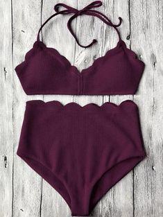 8f6236b078e11 Halter Scalloped High Waisted Bikini Set
