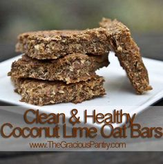 Clean Eating Coconut Lime Oat Bars  2 cups quick oats, dry, roasted in oven without oil for 15-20 minutes or until golden brown  1 cup peanut butter  1/2 cup honey  1/2 cup unsweetened apple sauce  1 cup unsweetened, dry coconut flakes  Zest of 2 limes  Juice of 1 lime