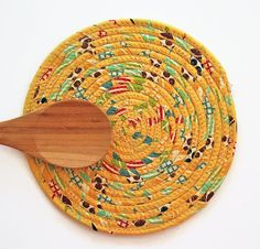 FABRIC COIL TRIVET  Yellow Trivet  Handmade Trivet  by Jambearies