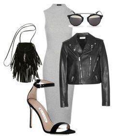 """Classy biker jacket #casual #leatherjacket #bodyconmidress #dior"" by jagaka on Polyvore featuring moda, Topshop, Yves Saint Laurent, Manolo Blahnik i Christian Dior"