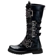 8 Vegan Goth Boots to Buy in 2019 - Summitfashions Mens Knee High Boots Black Shoes Brass Knuckles Vegan Combat Boots 1 Inch Heel Womens Thigh High Boots, Knee High Boots, On Shoes, Shoe Boots, Creeper Boots, Goth Boots, Brass Knuckles, Vegan Boots, Vegan Clothing