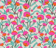 Floral Fabric - Zebrini Floral by Holli Zollinger - Hot Pink Tropical Summer Flowers Cotton Fabric by the Metre by Spoonflower Double Gauze Fabric, Cotton Twill Fabric, Minky Fabric, Fabric Patterns, Print Patterns, Swatch, Textiles, Textile Prints, Textile Design