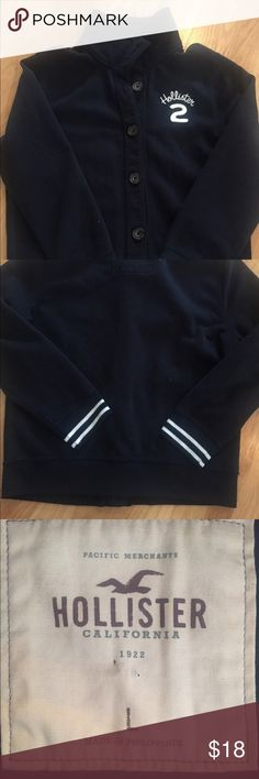 Hollister button-up sweatshirt jacket Runs on the smaller side, excellent condition Hollister Jackets & Coats