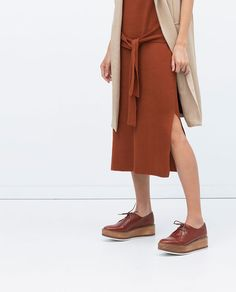 ZARA - SHOES & BAGS - WOODEN SOLE LEATHER BLUCHERS