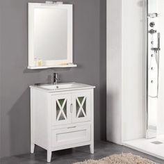 Mueble de baño rústico ÁVILA con patas 70 cm blanco con LAVABO 9527 Bathroom Vanity, Home, Vanity, Deco, Bathroom