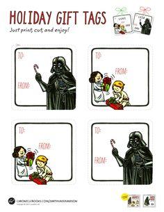 Star Wars Gift Tags via Geek Art Gallery  Printing these!