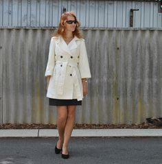 McCalls 5525 Ivory trench coat - Handmade by Carolyn