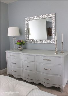 Old mirror and dresser refurnished. <3