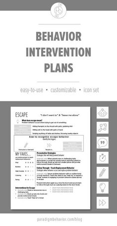 These Behavior Intervention Plan  (BIP) templates are meant to shared with teachers, paraprofessionals, parents, and anyone else involved in the child's routine. They are simplified and easy-to-read versions of a typical BIP that usually contains a lot of technical language.