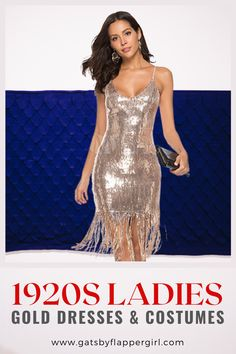 Click here to see all our stunning 1920s Womens Gold dresses ideal for Cocktail Parties & Formal Events. Perfect for all ages! Be classic go Roaring 20s Style Roaring 20s Fashion, Great Gatsby Fashion, 20s Style, Gatsby Style, Great Gatsby Dresses, Cocktail Parties, Gatsby Party, Gold Dress, Costume Dress