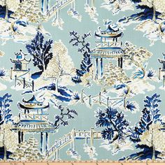 Screen printed on cotton duck; this versatile medium weight fabric is perfect for window accents (draperies valances curtains and swags) accent pillows duvet covers light upholstery and other home decor accents. Create handbags tote bags aprons and more. Chinoiserie Wallpaper, Fabric Wallpaper, Chinoiserie Fabric, Chinoiserie Chic, Willow Pattern, Textiles, Types Of Painting, Motif Floral, Home Decor Fabric