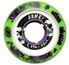 Atom Juke 2.0 95A Purple Quad Indoor Roller Skate Wheels - Perfect for Roller Derby Skates by Atom Wheels. $50.00. Size - 59mm x 38mm. Durometer/Hardness - 95A. Number of Wheels - Select a set of 8 wheels for one pair of skates or choose 4 wheels to mix and match!. Atom Juke 2.0 95A Purple Quad Indoor Roller Skate Wheels - Perfect for Roller Derby Skates - Say hello to all new Juke 2.0 for the 2011 season! Juke 2.0 sports lime green urethane wrapped around our glass-filled ...