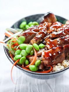 7 Spice Teriyaki Chicken Rice Bowls  | foodiecrush.com (obviously leave out the sugar)
