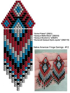 Linda's Crafty Inspirations: Native American Fringe Earrings - Red, Blue & Black