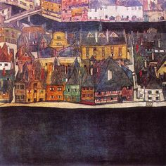Egon Schiele - Krumau on the Molde, The Small City, ca. 1912