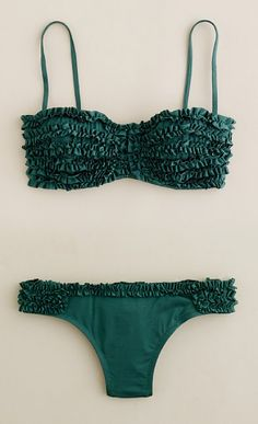 J. Crew Ruffled Bikini love the deep sea green color
