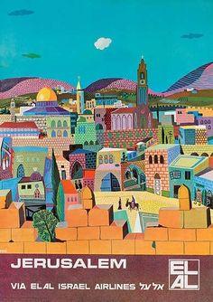 Vintage Poster Jerusalem postcard - postcard post card postcards unique diy cyo customize personalize - Whimsical travel art of ancient city. Retro Poster, Poster S, Vintage Travel Posters, Vintage Advertisements, Vintage Ads, Vintage Gifts, Arte Judaica, Art Et Design, Tourism Poster