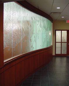 "Delnor Community Hospital- Geneva, IL  Texture: Custom  1/2"" Tempered Kiln-Fired Glass"