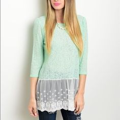 Mint Lace Knit Top Mint Green Knit Top! Lace trimmed hem and 3/4 Sleeves. Lightweight and Semi-Sheer. 94% Rayon 6% Spandex. Made in the USA!  Sizes Available: S,M,L  *Let me know which size you'd like, and I will create you a listing* Thank you, Xo Tops