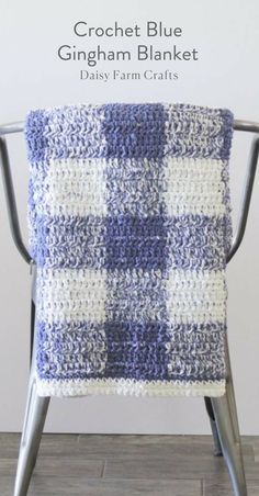 Free Pattern - Crochet Blue Gingham Blanket
