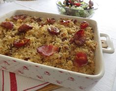 Arroz de pato--Portuguese duck rice with chouriço. Easy and delicious. Duck Recipes, Cake Recipes, Chicken Recipes, Fun Cooking, Cooking Recipes, Healthy Recipes, Chorizo, Portuguese Recipes, Portuguese Food