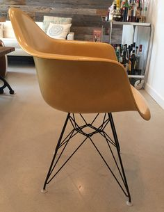 1 Yellow Mid-century Eames Fiberglass Wire-Base Armchair Howell Furniture, Eames, Armchair, Mid Century, Wire, Yellow, Home Decor, Sofa Chair, Single Sofa