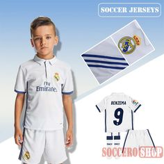 Newest Cool Real Madrid White 2016-2017 Home Kids Soccer Jersey With  Benzema 9 Printing e89947f11
