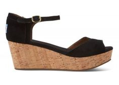 Black Suede Women's Platform Wedges | TOMS.com