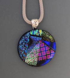 Round Dichroic Glass Statement Pendant Blue Fused by GlassCat
