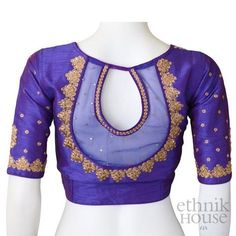 Blouse designs can make or break the look of a saree or lehenga. Whether you are wearing a party wear saree or your day to day casual saree, you can ignore the fact that it's the Blouse that holds the entire essence of the draping and the look of saree. Netted Blouse Designs, Pattu Saree Blouse Designs, Simple Blouse Designs, Blouse Back Neck Designs, Stylish Blouse Design, Sari Design, Blouse Designs Catalogue, Designer Kurtis, Blouse Lehenga