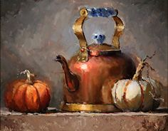 Copper and Company von Kathy Tate Oil ~ 11 x 14 - Malerei Still Life Drawing, Still Life Oil Painting, Still Life Art, Fruit Painting, Autumn Painting, Painting Clouds, Painting & Drawing, Watercolor Paintings, Original Paintings